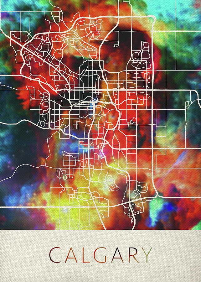 Calgary Alberta Canada Watercolor City Street Map Mixed Media By