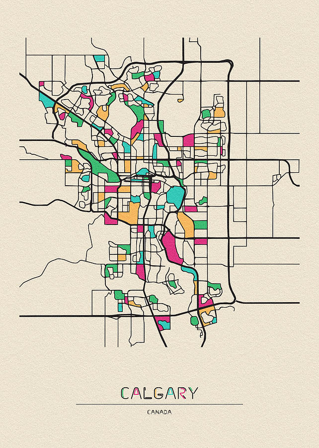 Calgary Canada City Map Drawing By Inspirowl Design