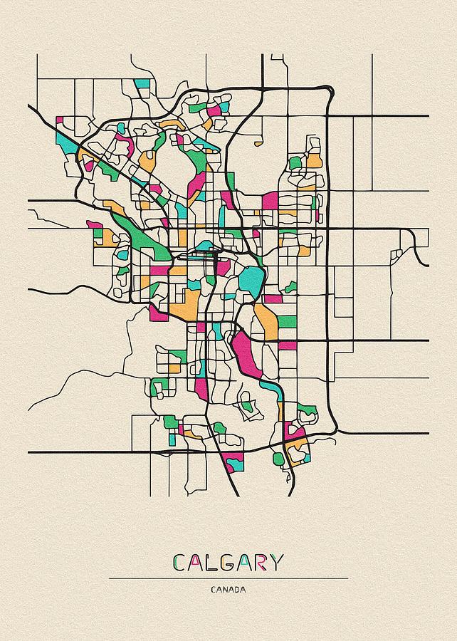 Calgary Drawing - Calgary, Canada City Map by Inspirowl Design