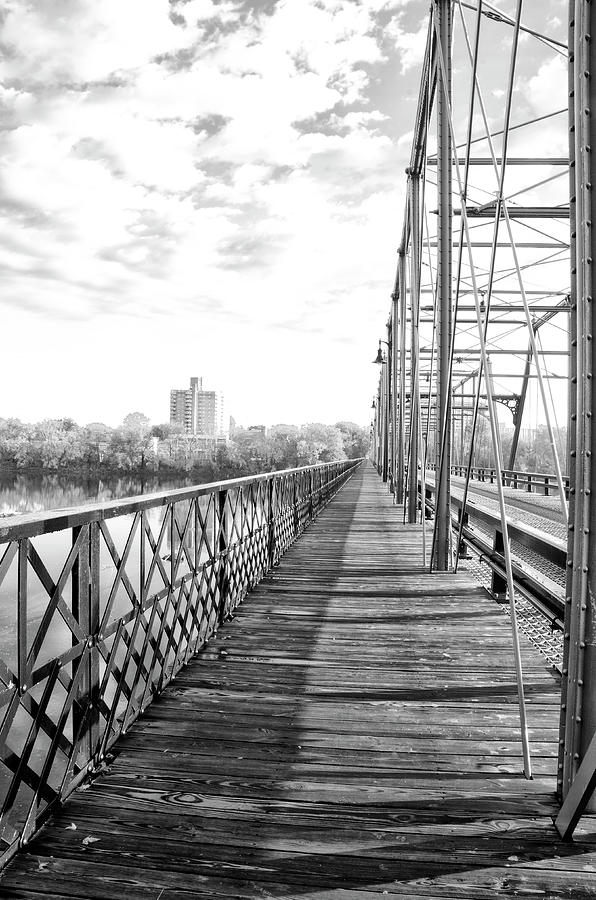 Black And White Photograph - Calhoun Street Bridge Walkway In Black And White by Bill Cannon