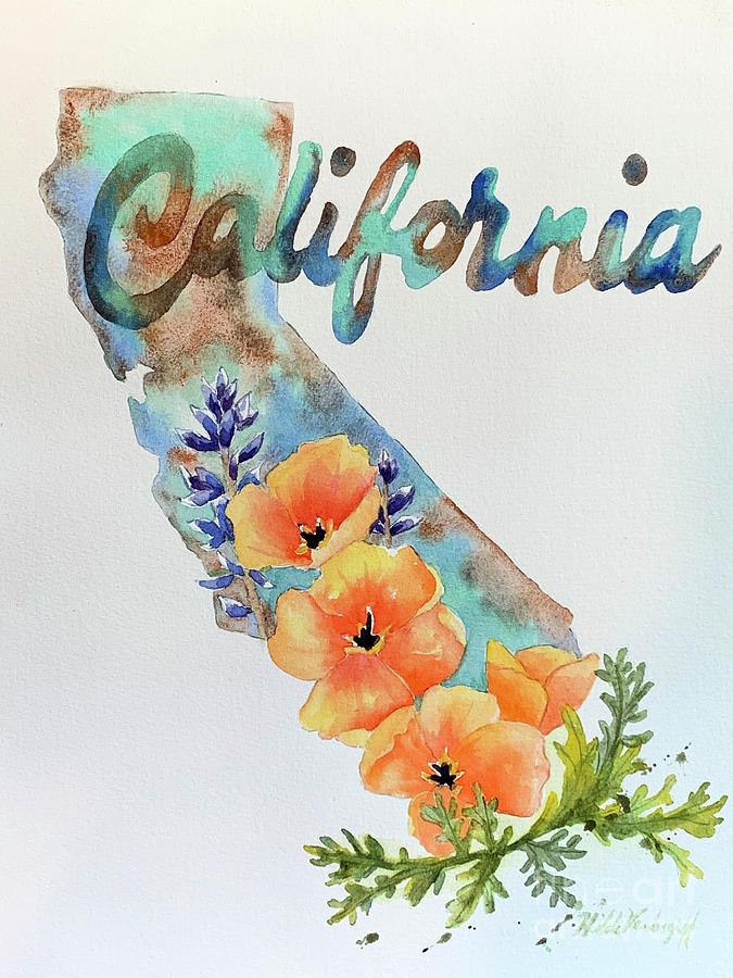California Map by Hilda Vandergriff