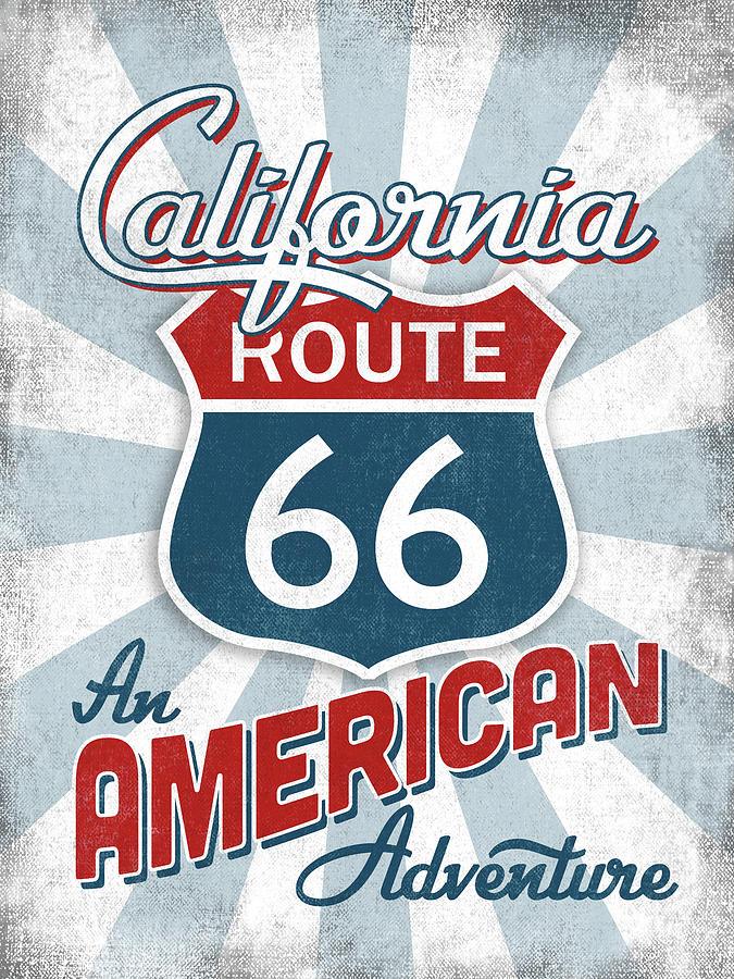 California Digital Art - California Route 66 America by Flo Karp