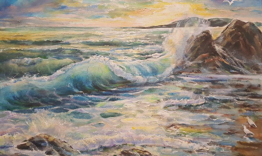 Ocean Painting - Magnificent Sunset In California by Alla Savinkov