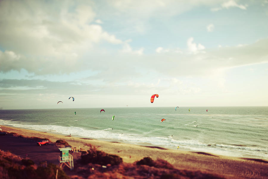 California Tilt Shifted Kite Surfers Photograph by Kevinruss