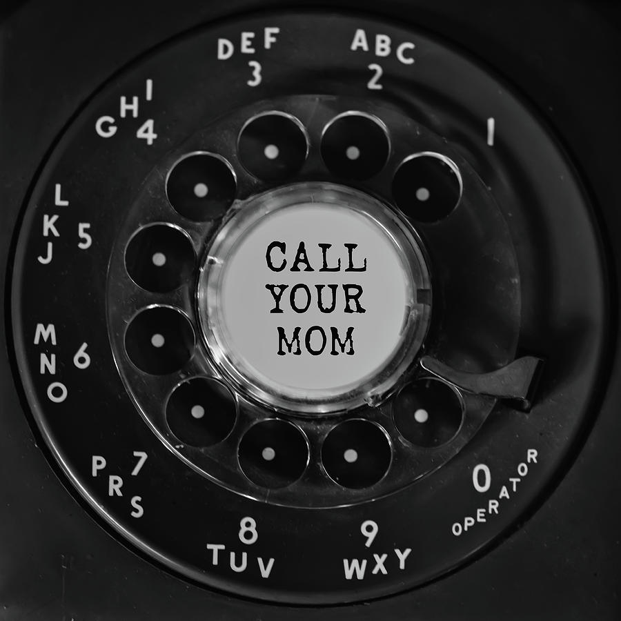 Call Your Mom Vintage Phone Dial Square Photograph