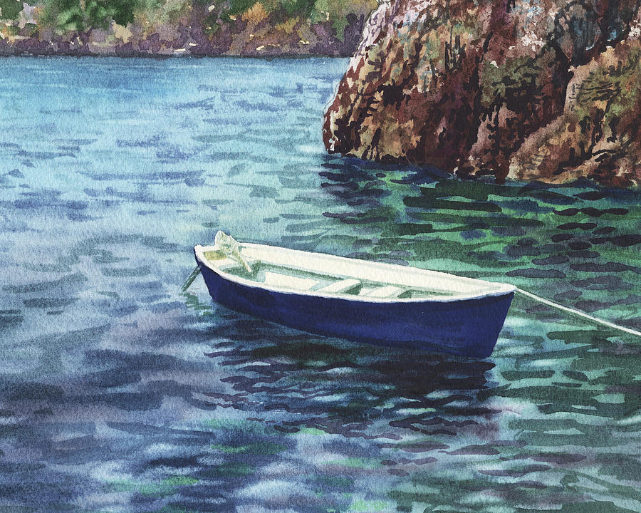Calm Safe Harbor With A Boat  by Irina Sztukowski