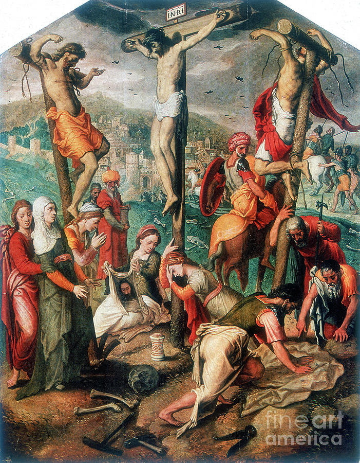 Calvary, Late 16th Century. Artist Drawing by Print Collector