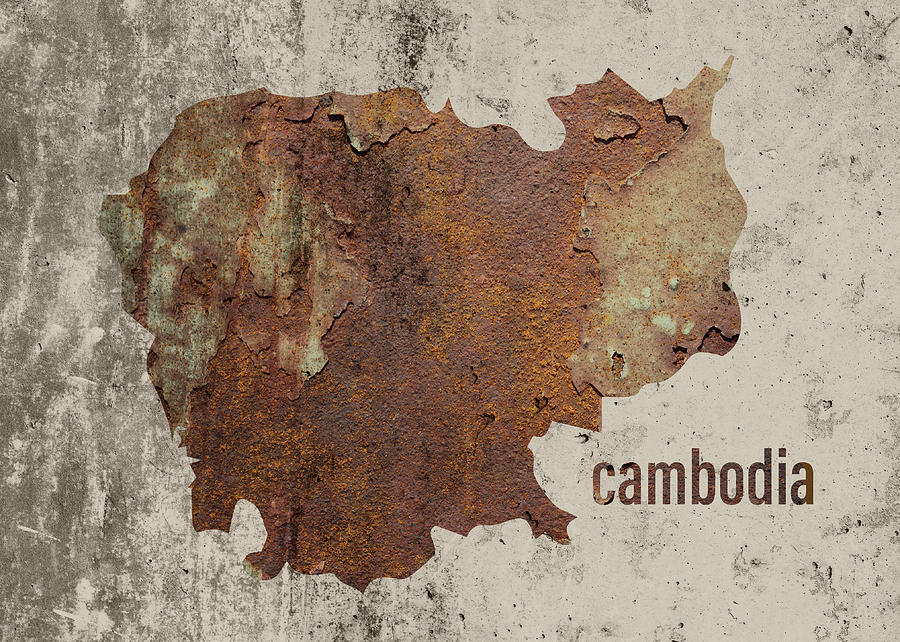 Cambodia Mixed Media - Cambodia Map Rusty Cement Country Series by Design Turnpike