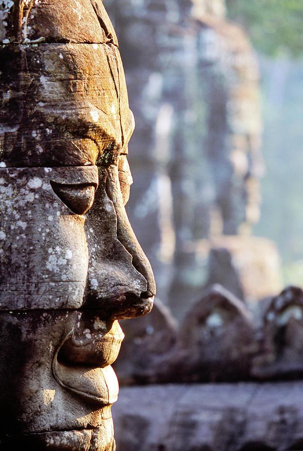 Cambodia, Siem Reap, The Bayon Photograph by John Seaton Callahan