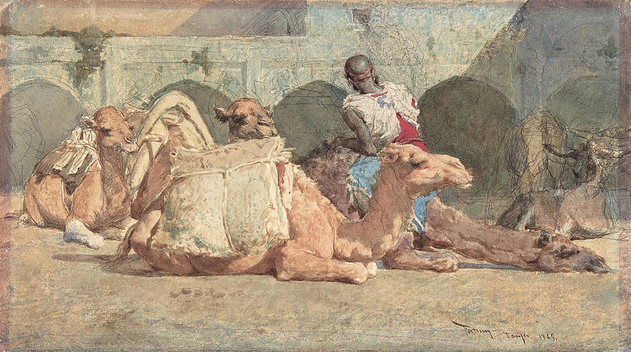 Morocco Painting - Camels Reposing, Tangiers - Digital Remastered Edition by Mariano Fortuny