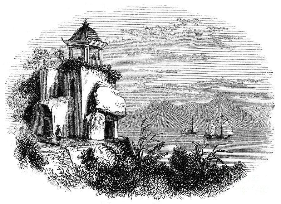 Camoens Grotto, Macao, 1847. Artist Drawing by Print Collector