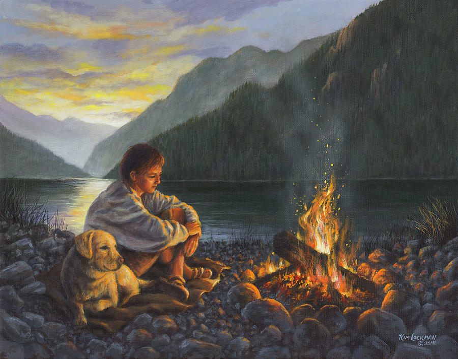 Campfire Companions Painting by Kim Lockman Campfire Painting