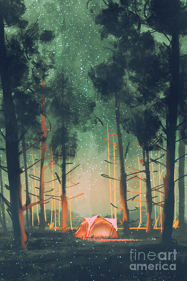 Tent Digital Art - Camping In Forest At Night With Stars by Tithi Luadthong