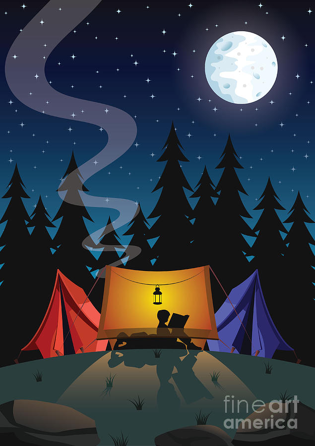Illustrations Digital Art - Camping by Nikola Knezevic