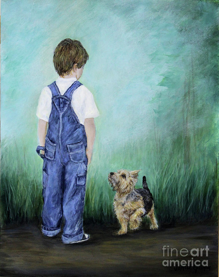 Boy Painting - Can I Go Too ? by Janice Guinan