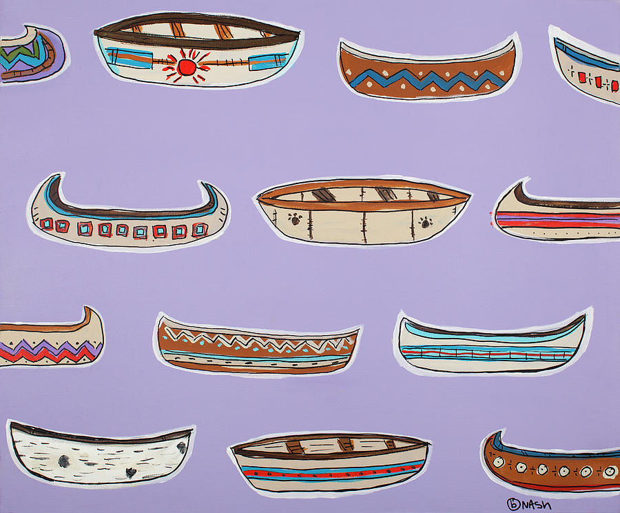 Native American Canoe Painting - Can You Canoe by Brian Nash