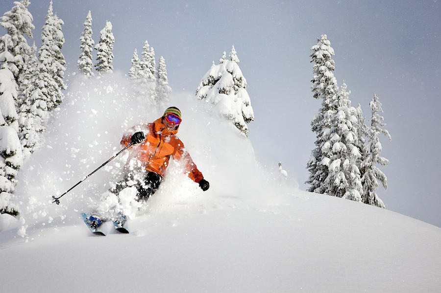 Canada, British Columbia, Man Skiing In Photograph by Arnold Media