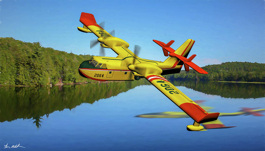 Canadian Fire Bomber Cl415 - Oil by Tommy Anderson