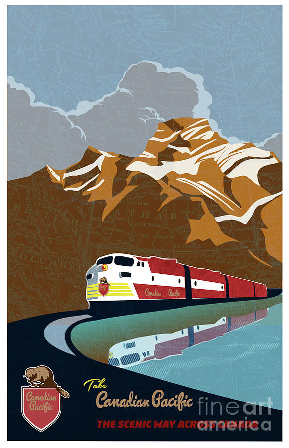 Canadian Pacific Rail Vintage Travel Poster by Sassan Filsoof