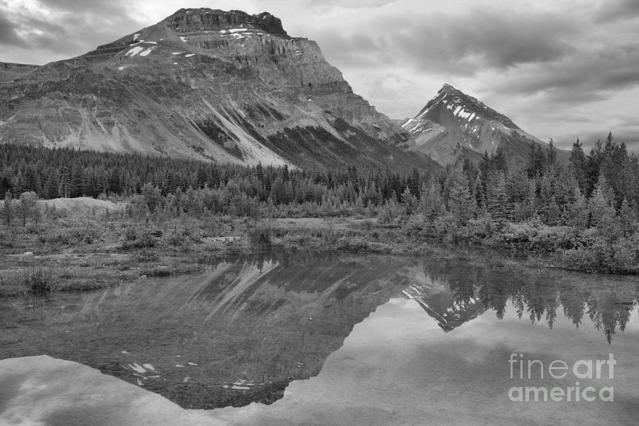 Canadian Rockies Twin Sunset Peaks Black And White by Adam Jewell