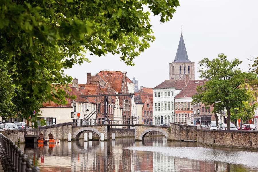 Canal Bridge At Potterierei In Bruges Photograph by Michaelutech