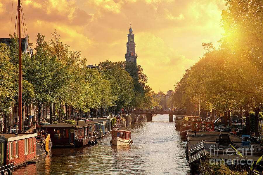 Canal In Amsterdam With The Church Photograph by Sylvain Sonnet
