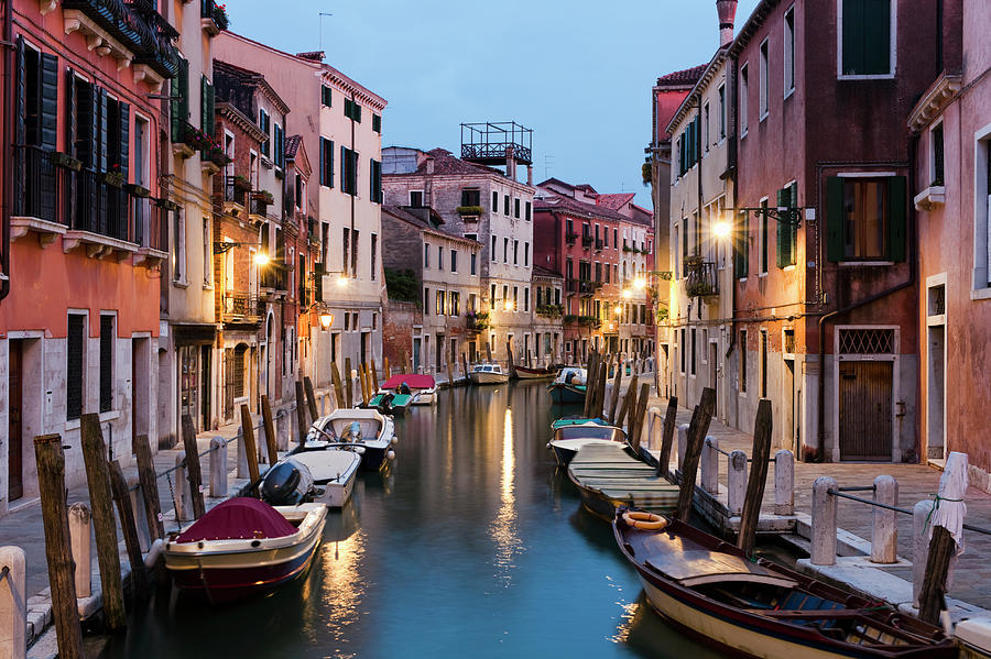 Canal In Dorsoduro District At Dusk Photograph by Jorg Greuel