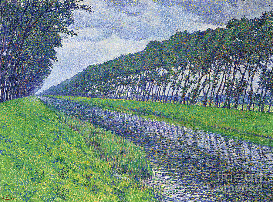 1894 Painting - Canal In Flanders, Le Canal En Flandre Par Temps Triste, 1894 by Theo van Rysselberghe