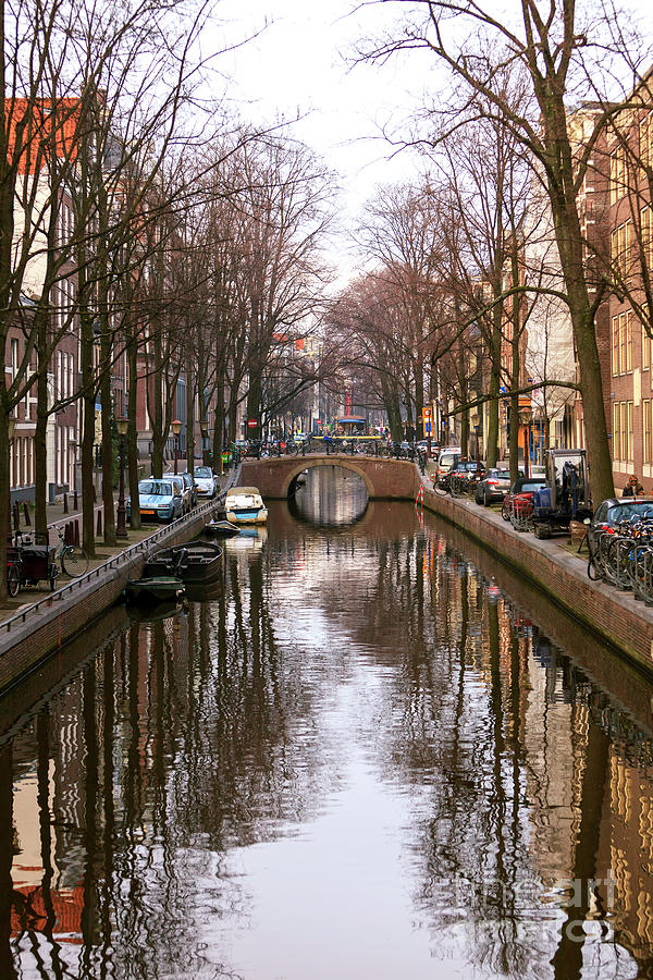 Canal Photograph - Canal Lines Amsterdam by John Rizzuto