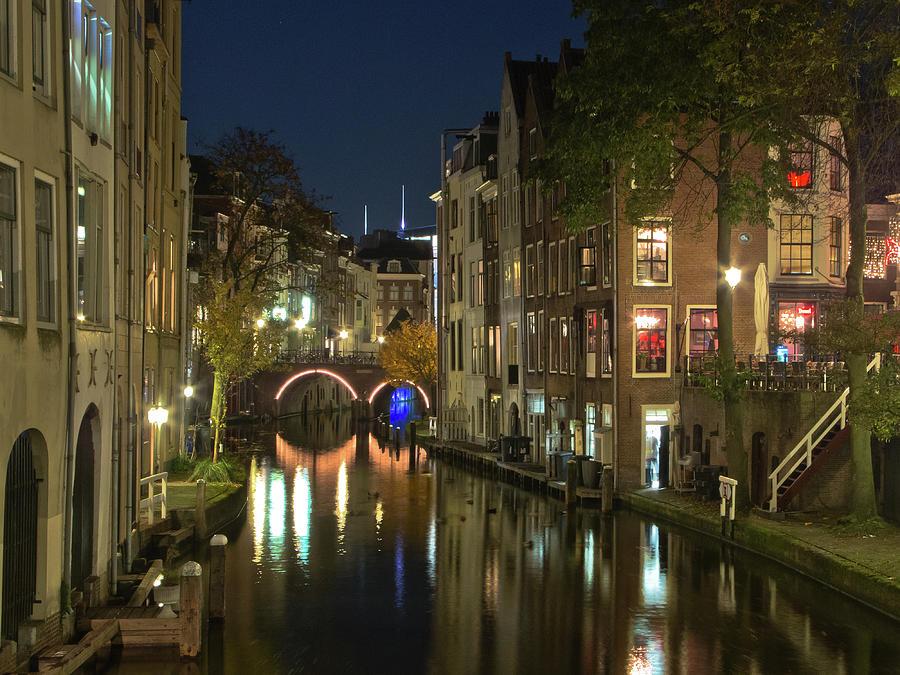 Canal Night Scene Photograph by Nadia Casey Photo
