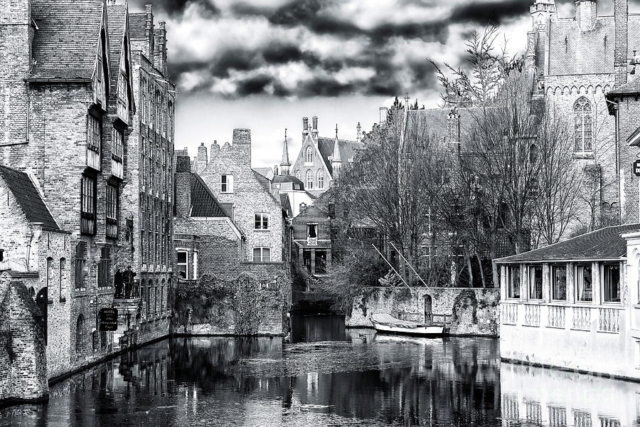 Canal Photograph - Canal Reflections Bruges by John Rizzuto