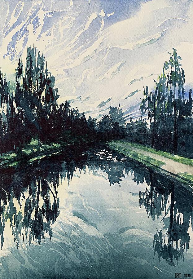 Sweden Painting - Canal Sunset by Sami Matilainen