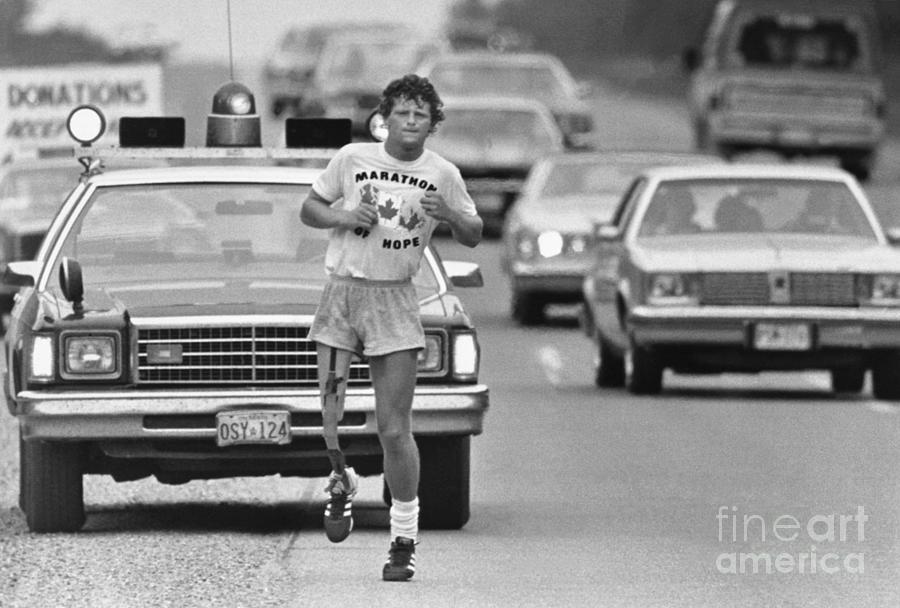 Cancer Victim Terry Fox On His Cross Photograph by Bettmann
