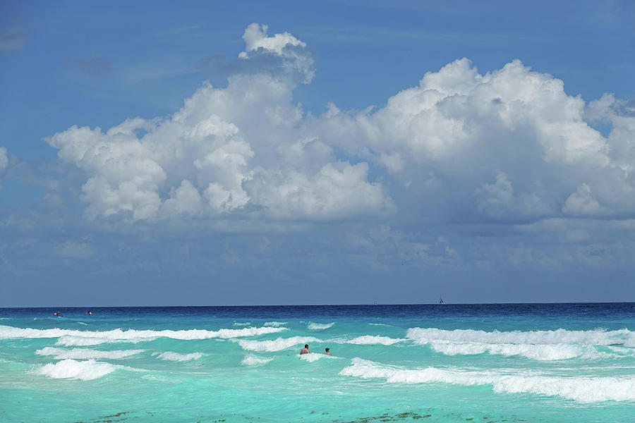 Cancun Swimming in the Beautiful Blue water of Cancun Mexico by Toby McGuire