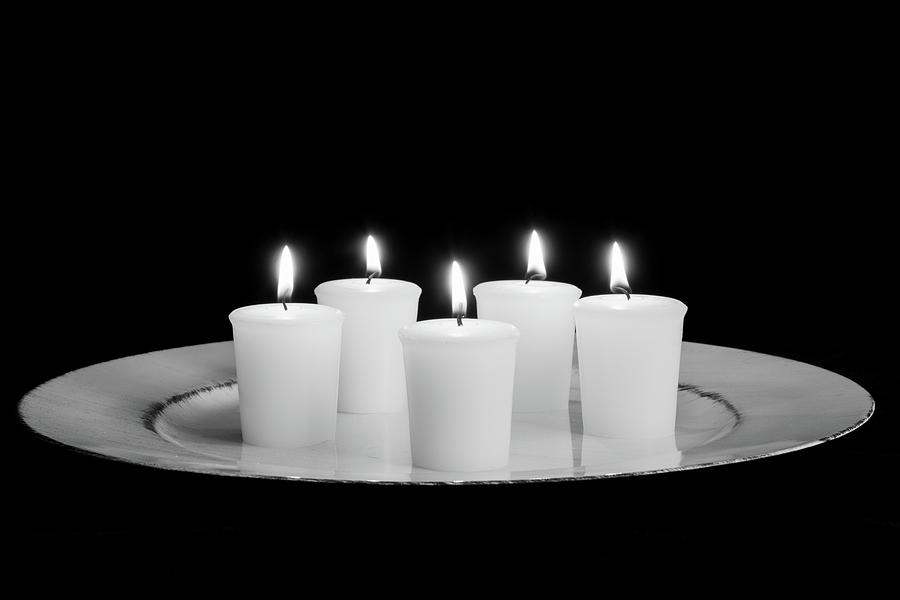 Candles on Plate-BW by Jennifer Wick