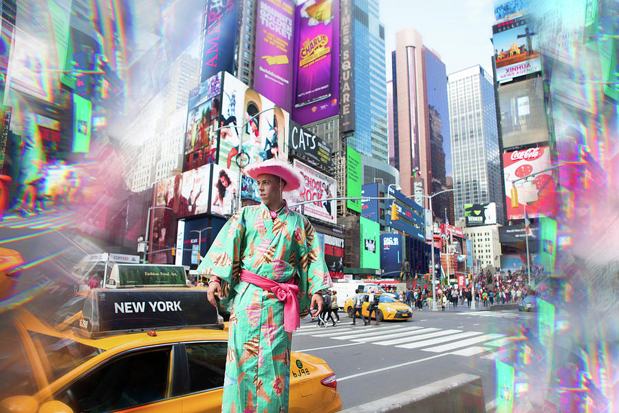 Times Square Photograph - Candy Ken In Times Square by Angie Gonzalez