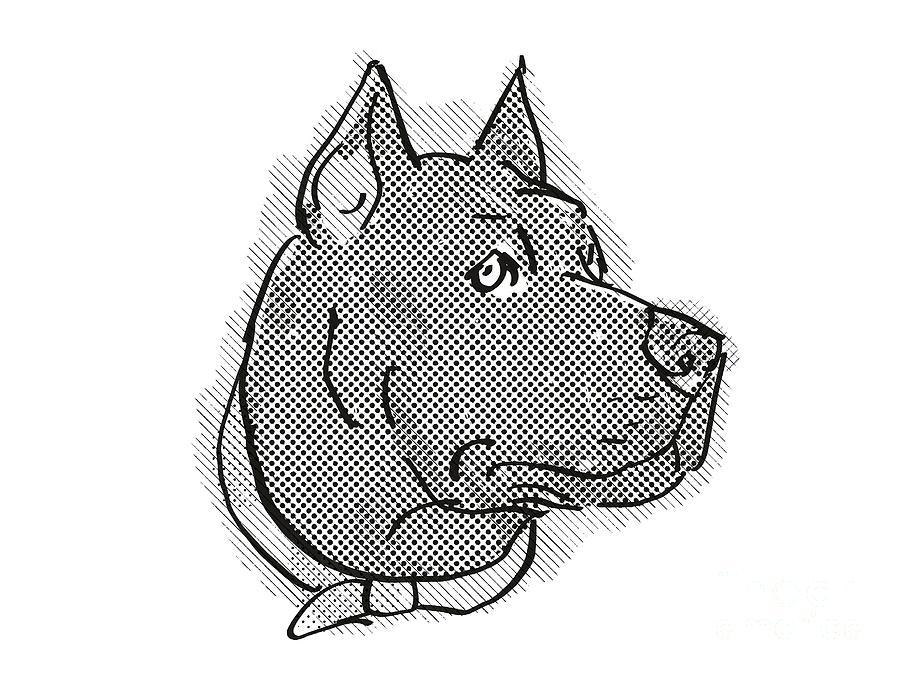 Retro Digital Art - Cane Corso Dog Breed Cartoon Retro Drawing by Aloysius Patrimonio