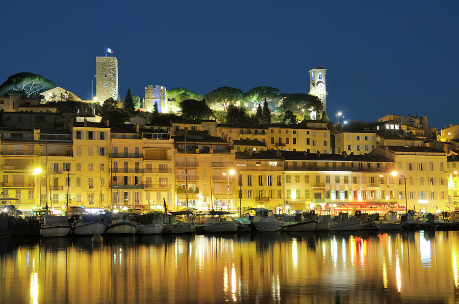 Cannes At Night Photograph by Nikitje