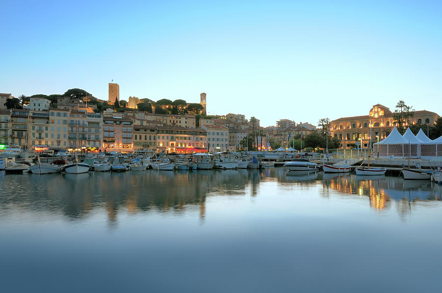 Cannes In The Evening Viewed From Harbor Photograph by Nikitje