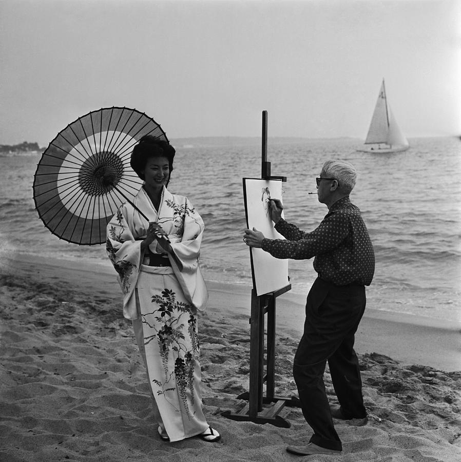 Cannes. Tsuguharu Foujita Painting Photograph by Keystone-france