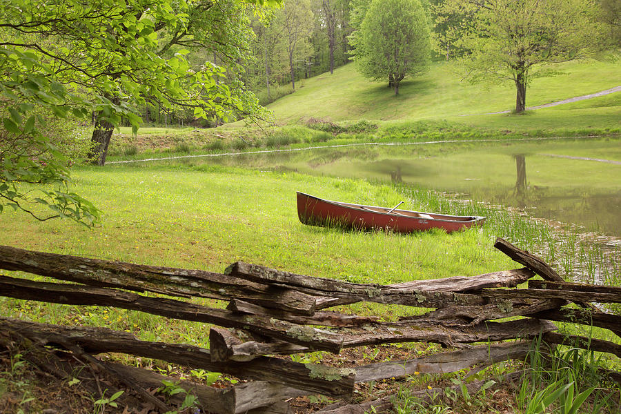 River Photograph - Canoe & Fence by Monte Nagler