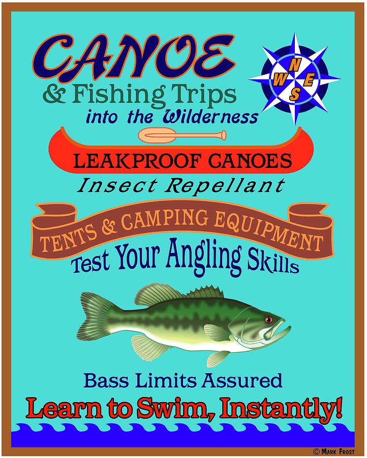 Fishing Digital Art - Canoe Fishing Wilderness by Mark Frost