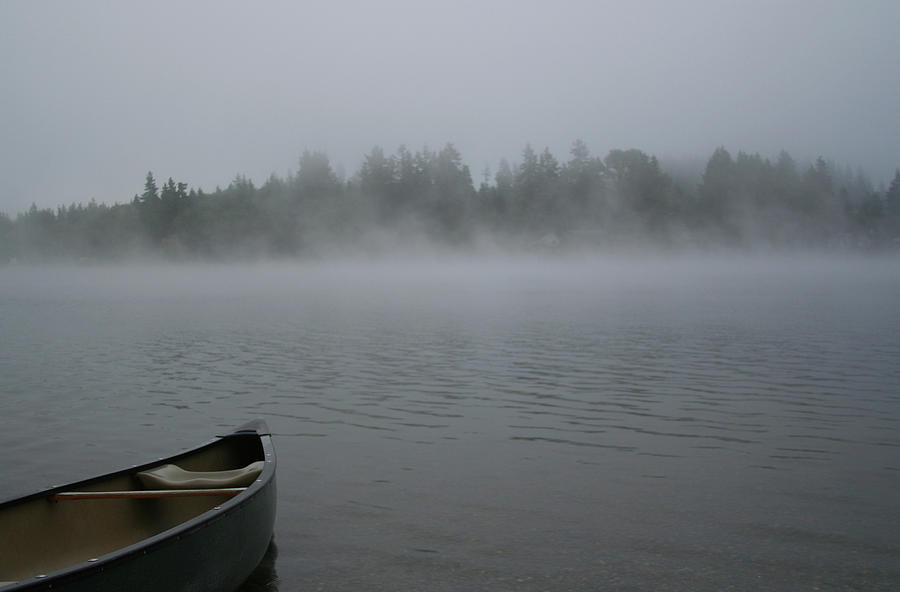 Canoe On A Foggy Lake Photograph by Roundhill