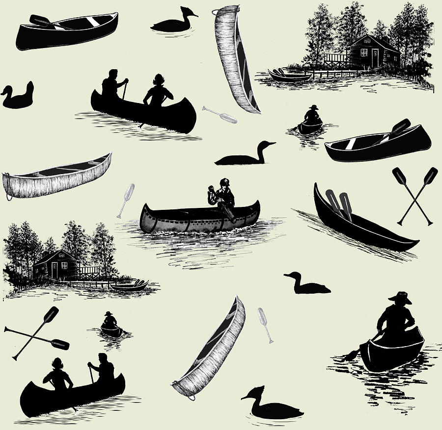 Pattern Mixed Media - Canoe Pattern Black Cream by Sher Sester
