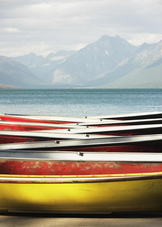 Canoe Rowboat Dinghy Dock Summer Camp Photograph by Chuckschugphotography