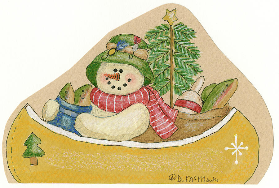 Canoe Snowman Painting by Debbie Mcmaster