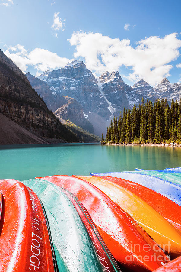 Canoes, lake Moraine, Canada by Matteo Colombo