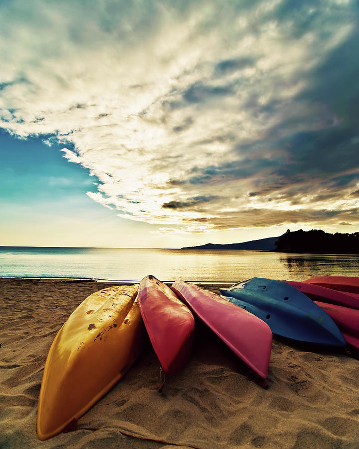Canoes On  Beach Photograph by Sheila Paras