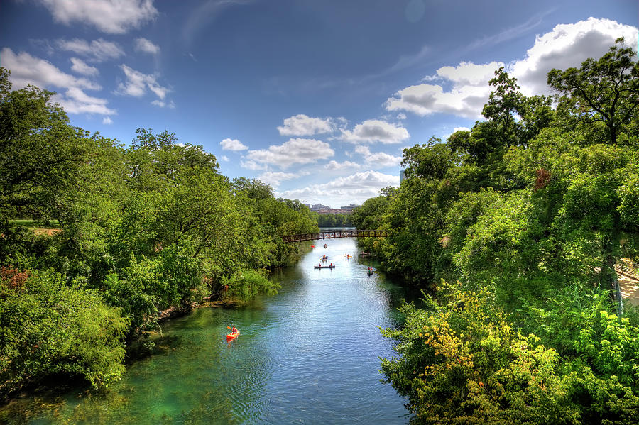 Canoes On Town Lake In Downtown Austin Photograph by Metschan