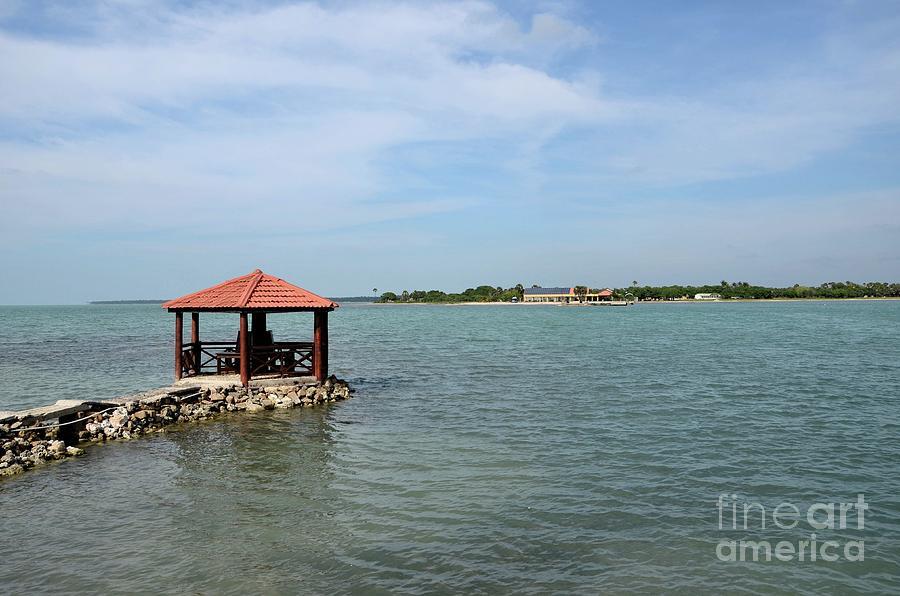 Canopy pagoda cupola on pier in water at Fort Hammenhiel Resort hotel Jaffna Peninsula Sri Lanka by Imran Ahmed
